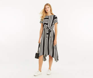 Oasis STRIPE HANKY HEM DRESS