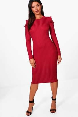 boohoo Ribbed Frill Cold Shoulder Midi Dress