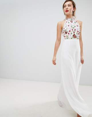 Frock And Frill Frock   Frill High Neck Maxi Dress With Rainbow  Embellishment 9b6382bab