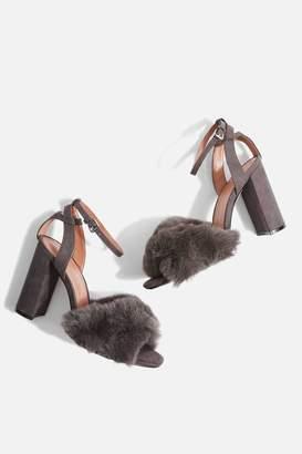 Topshop Sassy Faux Fur Heeled Sandals