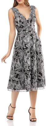 Carmen Marc Valvo Floral-Embroidered Fit & Flare Dress