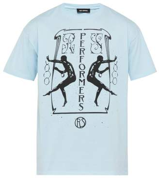 Raf Simons Performers Cotton Jersey T Shirt - Mens - Light Blue