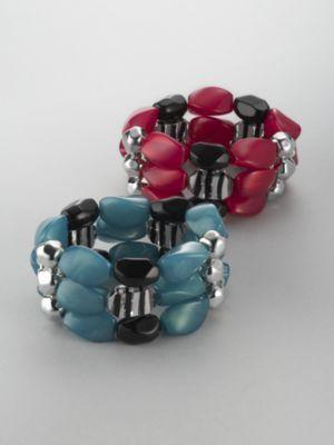 City Style Three-Row Stretch Bead Bracelet