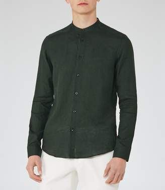 Reiss ORDER BY MIDNIGHT DEC 15TH FOR CHRISTMAS DELIVERY NOVAK LINEN GRANDAD COLLAR SHIRT Green