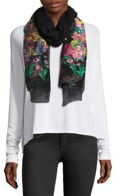 Etro Couped Multi Floral Sheer Scarf