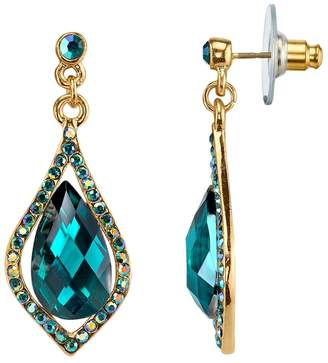 1928 Faceted Stone Caged Teardrop Earrings