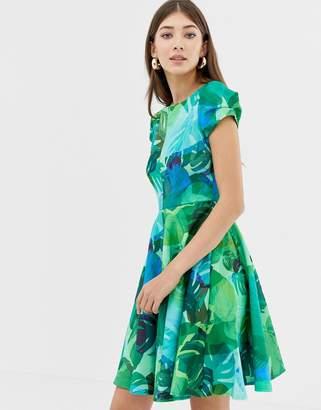 Closet London Closet Print Cap Sleeve Skater Dress