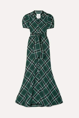 Rosie Assoulin Belted Checked Woven Maxi Dress - Dark green