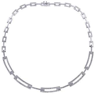 14K White Gold Rhodium Plated 2.75 Ct Diamond Rectangular Link Chain Necklace