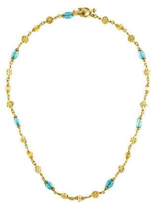 18K Apatite & Yellow Sapphire Bead Necklace