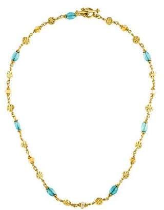 18K Apatite & Yellow Sapphire Bead Necklace