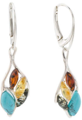 Made In Poland Sterling Silver Amber And Turquoise Earrings