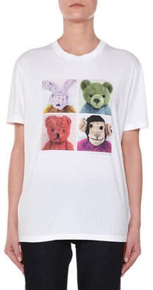 Stella McCartney 4-Square Stuffed Animal Crewneck Cotton T-Shirt