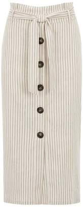 Mint Velvet Ivory Striped Paperbag Skirt