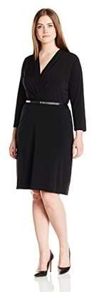 Single Dress Women's Plus Size Faux Wrap Ity Knit W/ Slider Belt $47.05 thestylecure.com