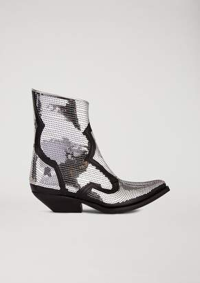 Emporio Armani Leather Campero Boots With Sequin Embroidery
