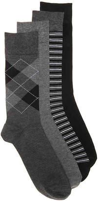 Aston Grey Argyle Stripe Crew Socks - 4 Pack - Men's