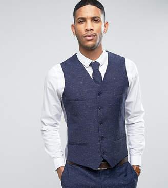 Noak Skinny Wedding Suit Vest In Linen Nepp