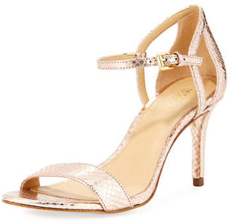 MICHAEL Michael Kors Simone Mid-Heel Metallic Snake-Embossed Sandal