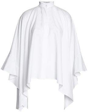 Valentino Draped Ruffled Cotton-Oxford Blouse
