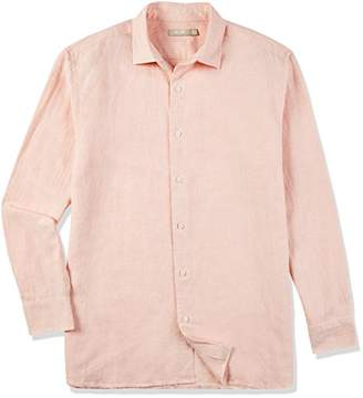 Isle Bay Linens Men's Linen Cotton Blend Long Sleeve Woven Casual Shirt Standard Fit Chambray Coral