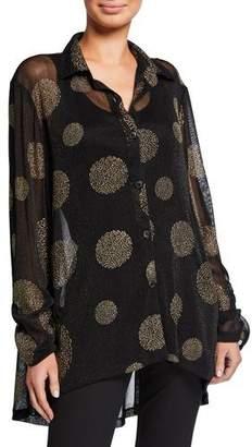 Berek Petite Metallic Circle Button-Down High-Low Big Shirt