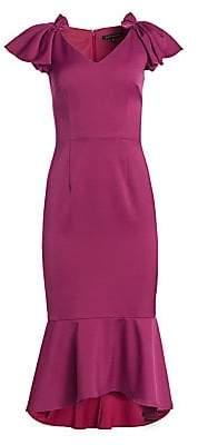 David Meister Women's Cap Sleeve Midi Dress