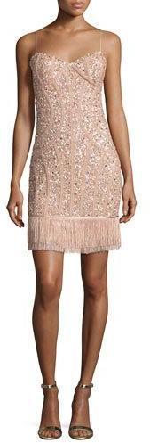 Aidan MattoxAidan Mattox Sequined Fringe Cocktail Dress, Blush