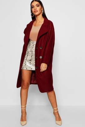 boohoo Oversized Double Breasted Longline Wool Look Coat
