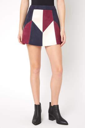 Abbeline Navy Geometric Patchwork Suede Mini Skirt