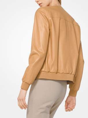 Michael Kors Plonge Leather Bomber Jacket