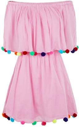 Pitusa Pom Pom Off-The-Shoulder Dress