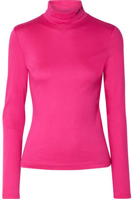 Calvin Klein Embroidered Cotton-jersey Turtleneck Top - Magenta