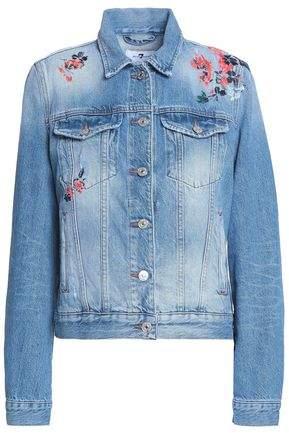 Modern Trucker Embroidered Distressed Denim Jacket