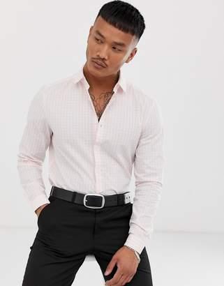 Asos Design DESIGN stretch slim check smart shirt in pink