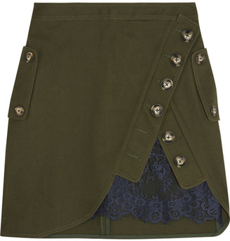 Self-Portrait - Lace-paneled Cotton-twill Mini Skirt - Army green $375 thestylecure.com