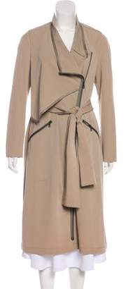 Yigal Azrouel Leather-Trimmed Long Coat