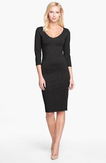 Nordstrom Women's FELICITY & COCO Midi Sheath Dress, Size Medium - Black Exclusive)