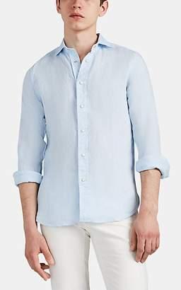 Bolzonella 1934 Men's Slub Linen Snap-Front Shirt - Lt. Blue