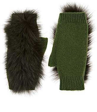 Lafayette House of Women's Fur-Trimmed Cashmere Fingerless Gloves - Green