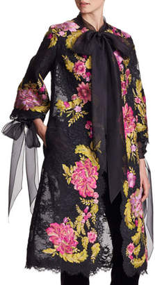 Marchesa Floral-Embroidered Corded Lace Coat with Tie Neck & Cuffs