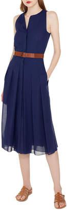 Akris Wool Voile Pleated Dress w/ Belt