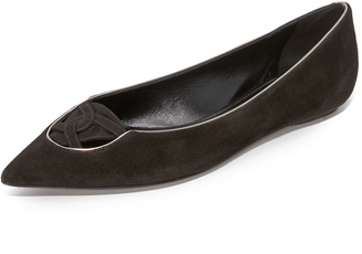 Casadei Suede Flats with Piping $525 thestylecure.com