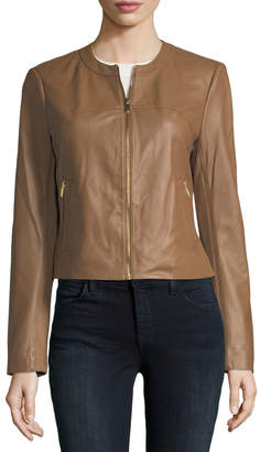 Via Spiga Zip-Front Leather Jacket