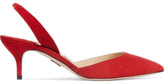 Paul Andrew Rhea Suede Slingback Pumps - Red