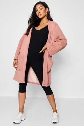 boohoo Panelled Collarless Faux Fur Coat