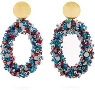 Bead-embellished hoop clip-on earrings
