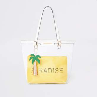 River Island Girls Yellow clear 'Paradise' shopper bag