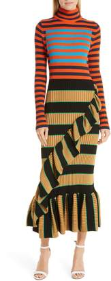 Kenzo Mixed Stripe Ruffle Trim Sweater Dress