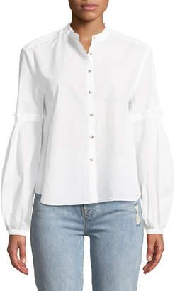 MiH Jeans Esther Seersucker Balloon-Sleeve Shirt